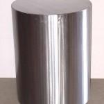 Cylinder pedestal in brushed steel