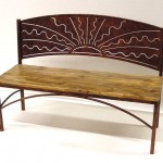 Sunrise bench with wood seat