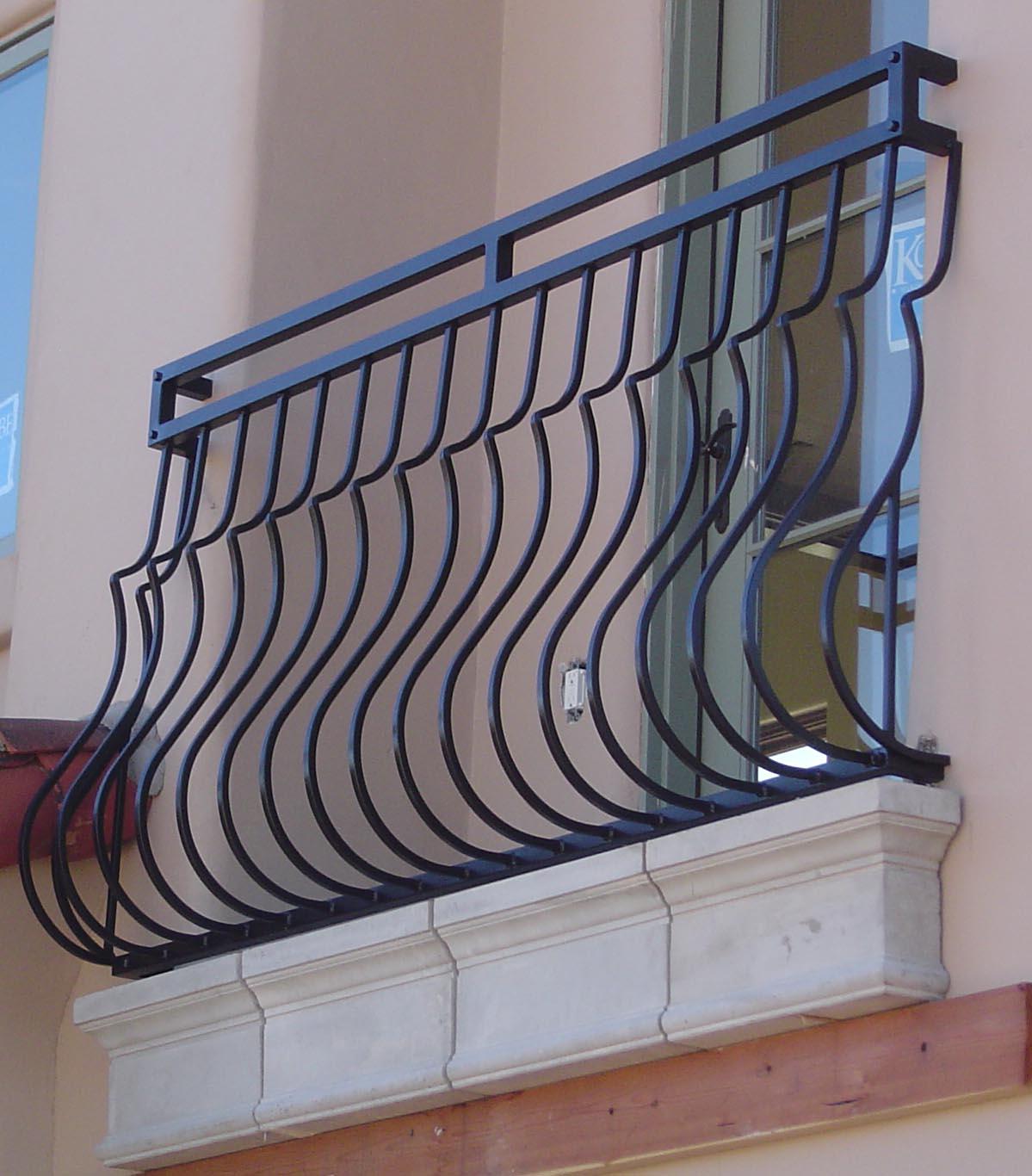 Curved Balcony Railing Black