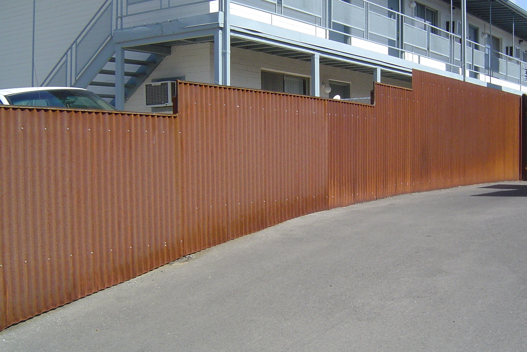 Fence With Corrugated Steel Panels Rust Ironcraft In Az