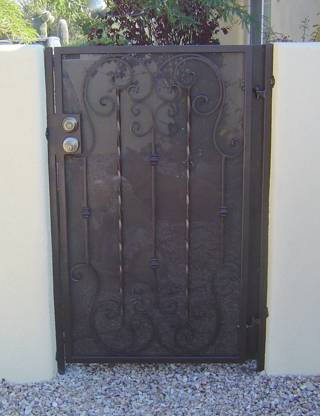 Gate With Scrolls And Twisted Pickets Ironcraft In Az
