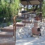 Hand rail for garden stairway