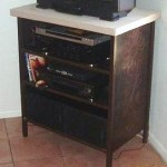 Custom TV stand with stone