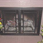 Wright styled fireplace doors